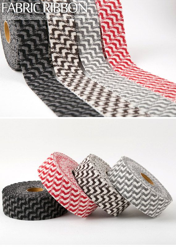 Wave-Pattern Wool Fabric Ribbon 5cm 4 Colors Ultra sonic by HOLYCO  #ribbon #Fabric