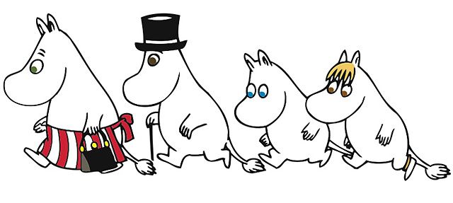 The Moomins on the path to adventures (in Covent Garden), from left: Moominmamma, Moominpappa, Moomintroll and the Snork maiden.