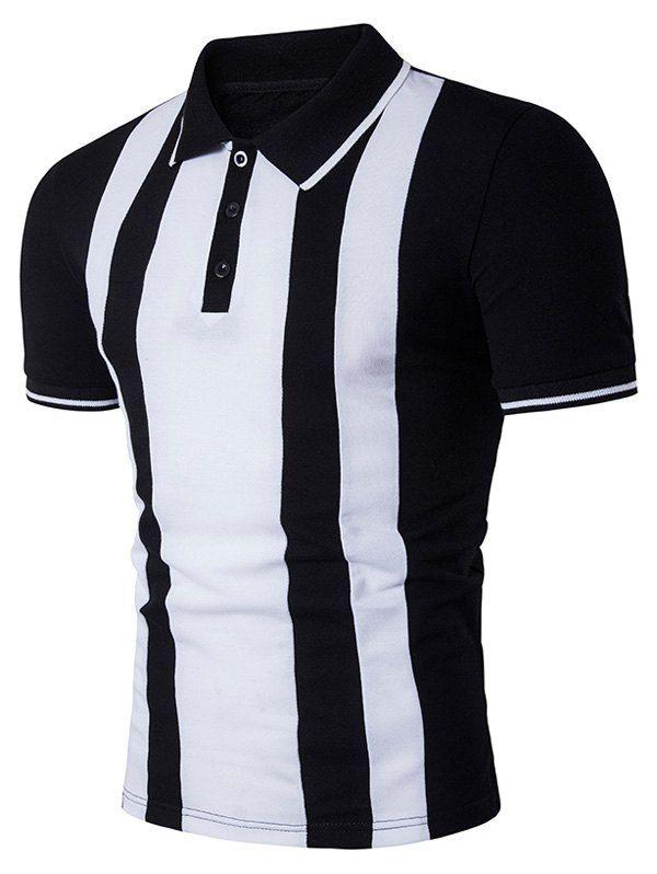 Vertical Stripe Color Block Panel Polo T-Shirt - BLACK L
