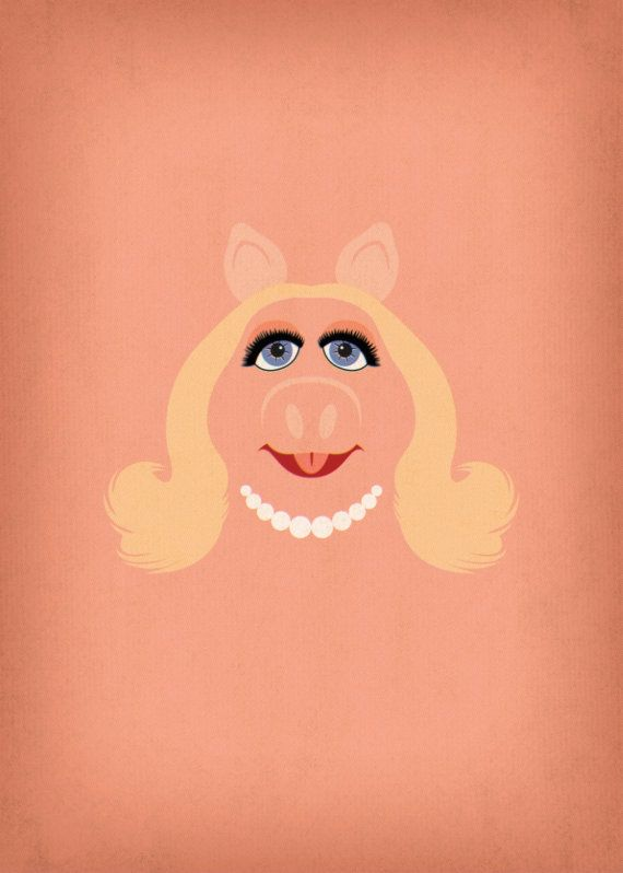 The Muppets Show Miss Piggy Minimalist Poster by TheRetroInc