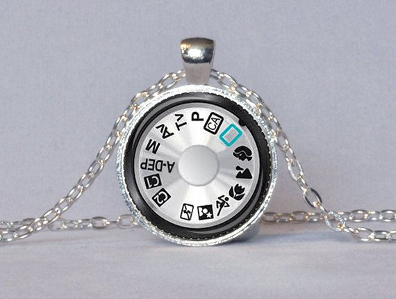 CAMERA DIAL PENDANT Photography Pendant Silver Black Teal Camera Necklace Photographer Gift Camera Jewelry. $13.95, via Etsy.