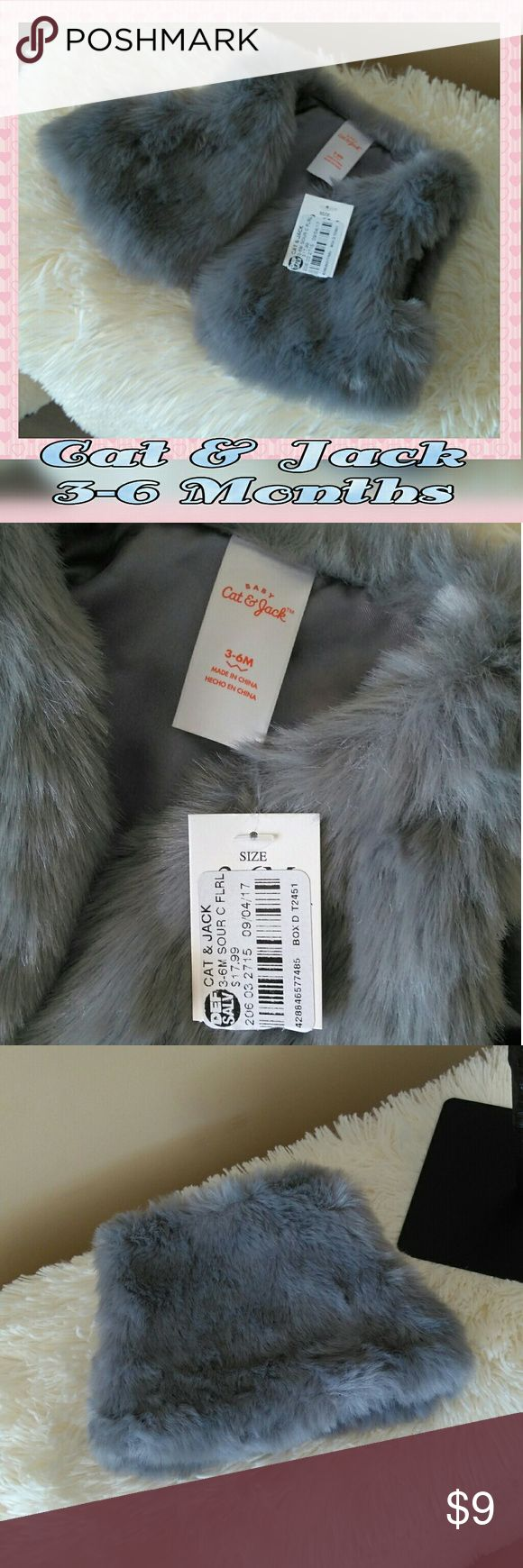 NWT Cat & Jack Baby Faux Fur Gray Vest Adorable Cat & Jack brand gray faux fur vest comes new with original tag and in perfect new condition. Size is 3-6 months. Pictures show actual color. Very plush and cute! Thank you for visiting my closet 💖 Cat & Jack Jackets & Coats Vests