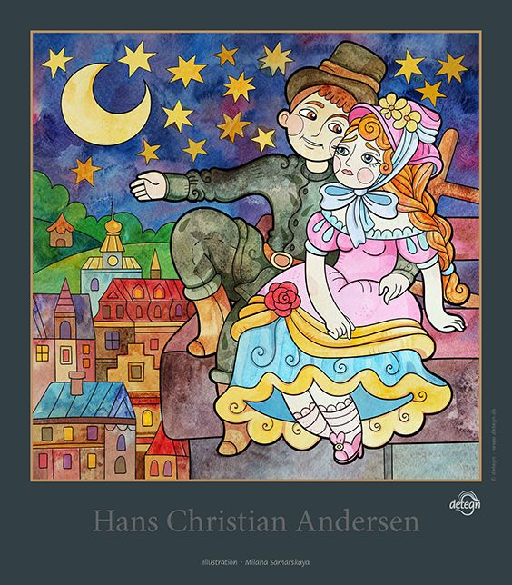 The Shepherdess and the Chimney-Sweep, poster, Milana Samarskaya, fairy tales, Hans Christian Andersen, drawing