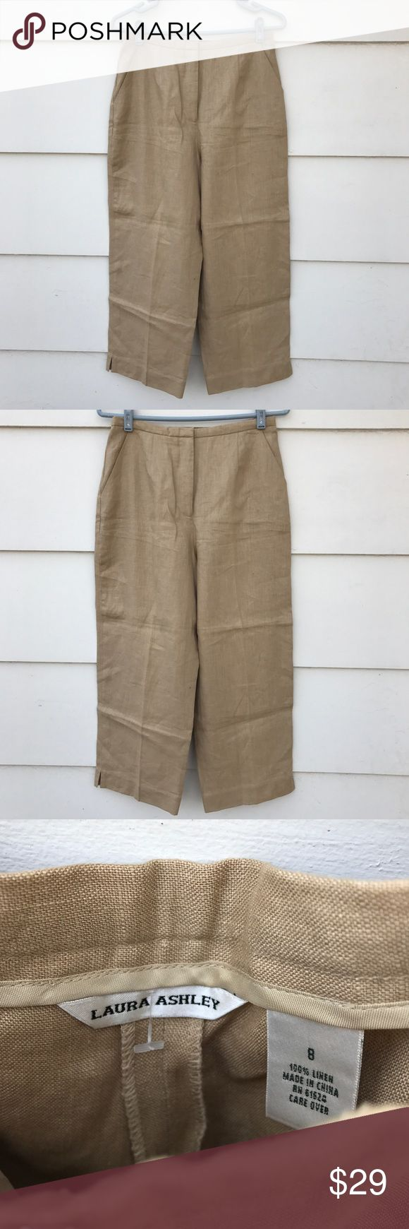 "Laura Ashley Women CHINCHILLA Capri Cropped Pants Lovely Laura Ashley women's Chinchilla capri cropped pants tan/brown. Materials. 100% linen Size 8. Condition. New with tag. Measurements. waist 28"" inseam 24"" hip 36"" overall length 35"" Laura Ashley Pants Capris"