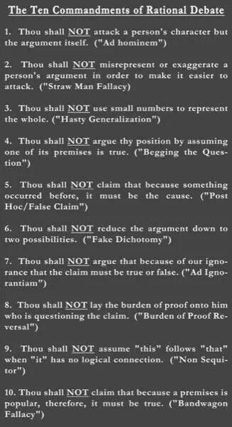 Ten Commandments of Rational Debate