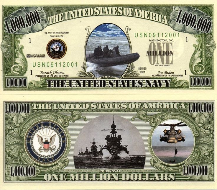 Details about U.S. Navy Seals Million Dollar Novelty Money