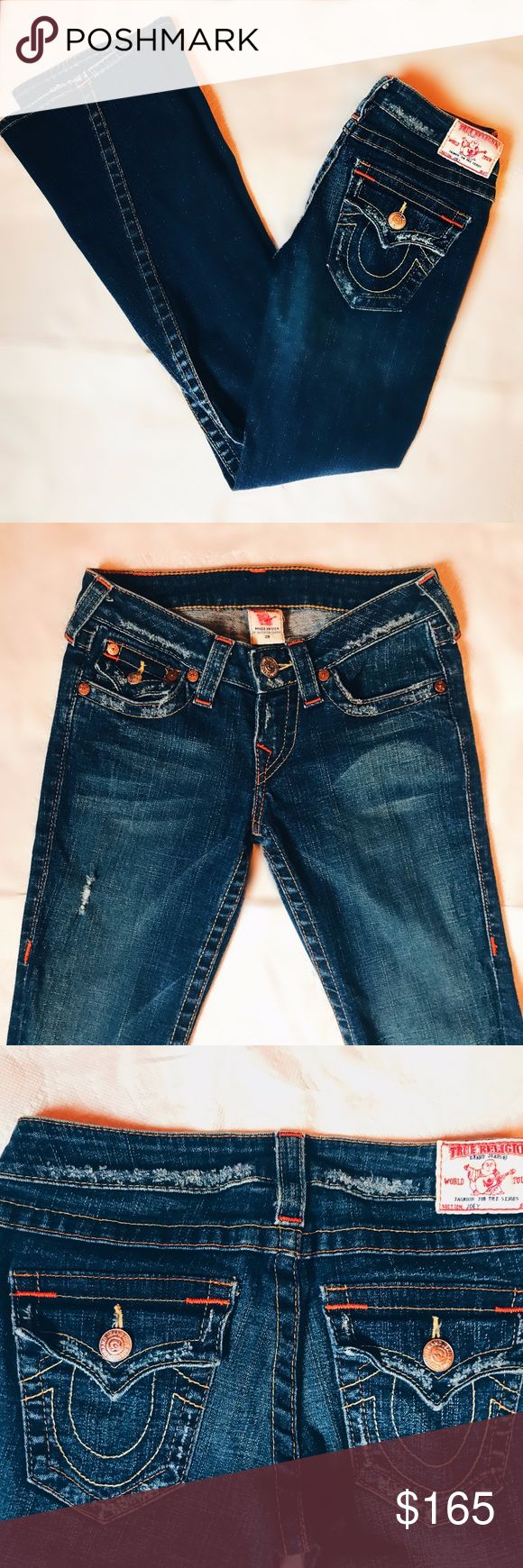 True Religion Designer Women's Jeans Bootcut Women's True Religion designer jeans never worn, zero rips or stains, in mint condition. True Religion traditional style bootcut jeans with orange styling True Religion Jeans Boot Cut