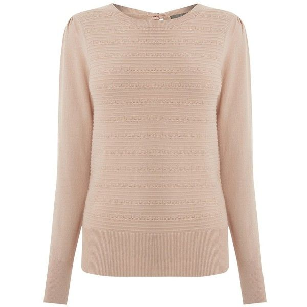 Oasis Pointelle Bow Back Jumper, Light Neutral ($38) ❤ liked on Polyvore featuring tops, sweaters, round neck sweater, jumpers sweaters, pink top, cotton sweaters and bow back sweater