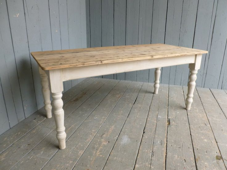 Victorian Boarded Top Country Kitchen Table,Reclaimed Pine Farmhouse Table  With Tapered Legs,kitchen