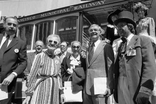 """April 11, 1978: Mayor George Moscone, during a celebration of the California line  -- one of several """"100th birthday"""" celebrations for the cable cars."""