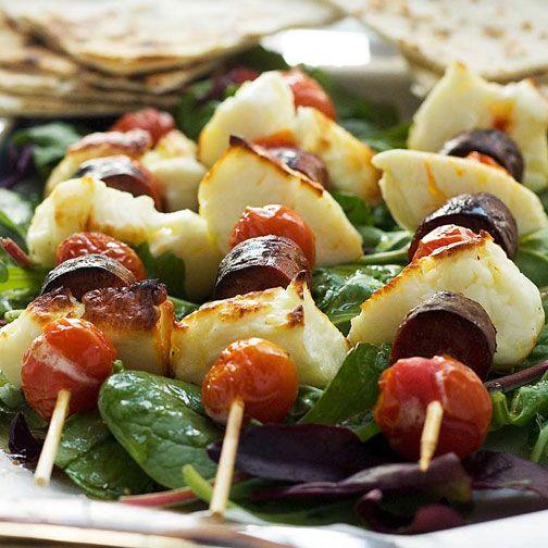 Halloumi, Chorizo & Tomato Skewers with Honey Lime Dressing Recipe - RecipeChart.com