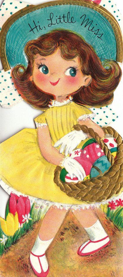 I love these Vintage cards!! Cute vintage 1959 'Hi Little Miss!' Easter card. #vintage #Easter #cards