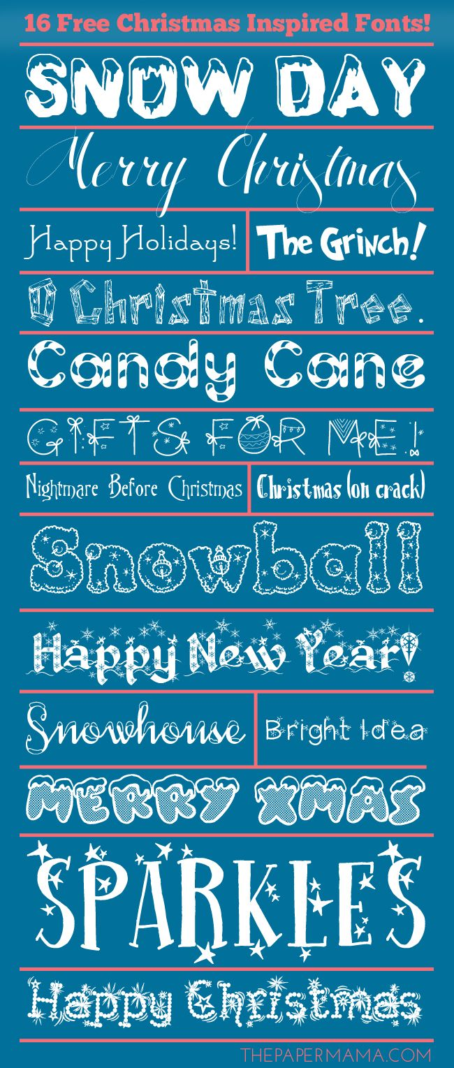 Day 25: 16 Free Christmas Inspired Fonts I love a good font roundup because font is so wonderful. We are headed to Christmas/holiday photo time and these fonts are perfect for your upcoming cards and