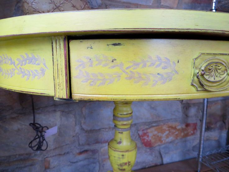 Drum table refinished in english yellow annie sloan chalk for Yellow painted table