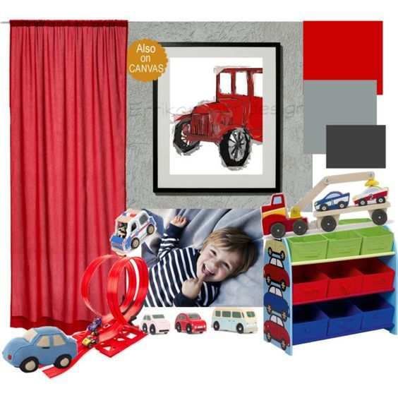 Kids Nursery Prints: Car themed nursery red-gray