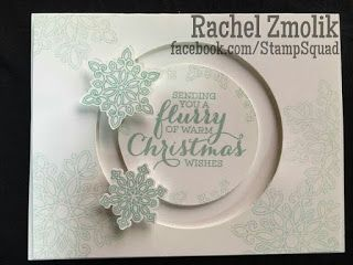 You can use two spinners on the same track with this neat trick. This spinner card features Flurry of Wishes and Sliding Star framelits - it's like they were made to be together! Beautiful interactive snowflake Christmas card in Pool Party. Stampin Up 2016. Design by ScrappyZ