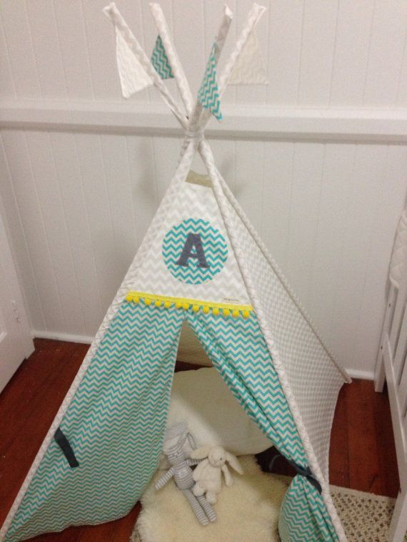 White and Aqua Chevron personalised tepee play by NestNFeather