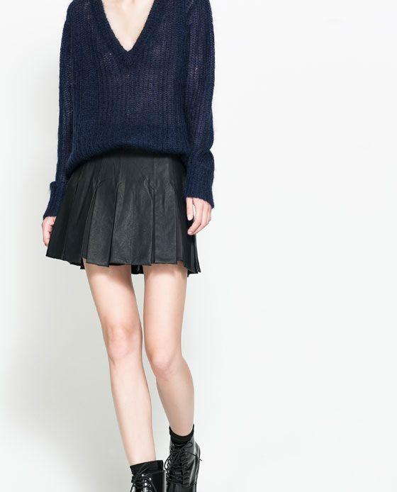 amazing zara faux leather skirt image 2 of pleated skirt