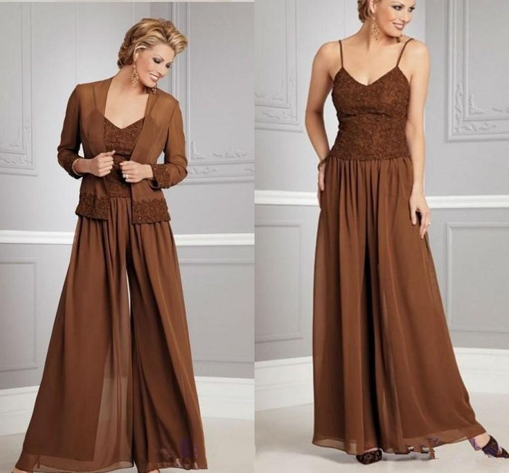 2015 Fashion Coffee Chiffon Mothers Dresses Pants Suits With Jacket Long Sleeves Mother Of The Bride Spagetti Mother Of The Bride Dress Mother Of The Bridge Dresses Mother Of The Groom Dresses For Spring From Missudress, $128.33| Dhgate.Com