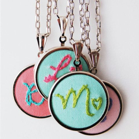 Hand Embroidered Personalized Initial Pendant with Heart