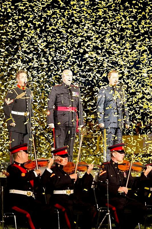 Singers from the United Kingdom Armed Forces perform the Invictus Anthem written by Coldplay's Chris Martin during the opening ceremony of the Invictus Games at Queen Elizabeth Olympic Park in London on September 10.