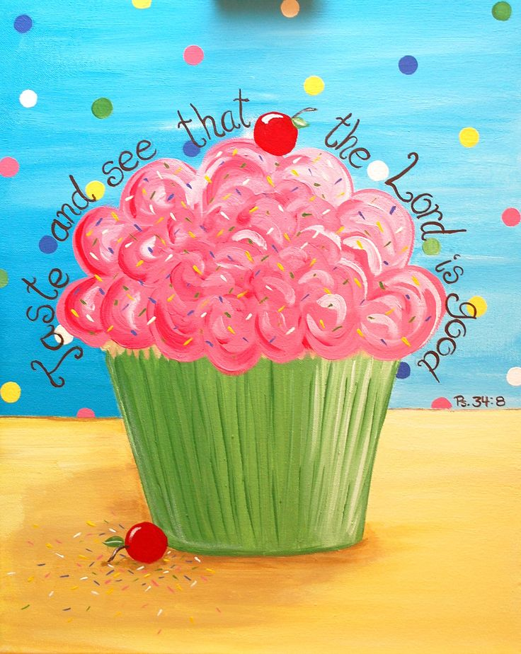 Cupcake Painting, Original 16 x 20 canvas, Scripture, Bible Verse, Christian, Dessert. $75.00, via Etsy.