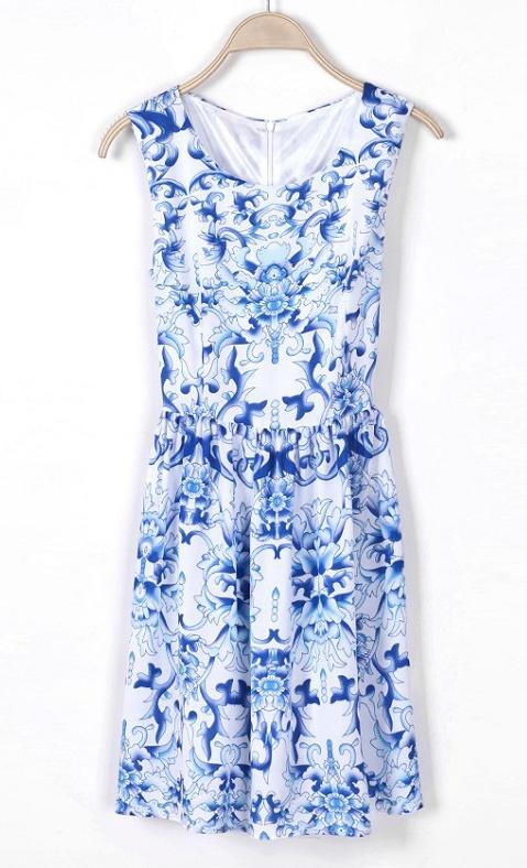 Blue Sleeveless Porcelain Print Chiffon Dress