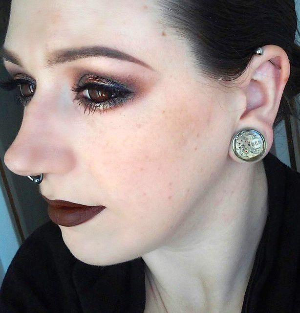 Another image from Christin wearing her 20mm Jamlincrow steampunk plug.
