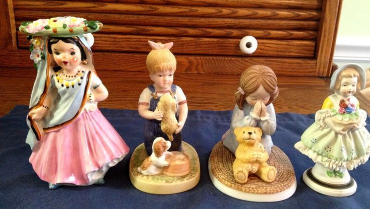 """ONE FROM LENOX. ONE YOUNG SPANISH GIRL WITH FLOWERS. YOUNG GIRL WITH PUPPIES. 3"""" ACROSS FRONT AT SKIRT. COLONIAL STYLE GIRL WITH BASKET OF FLOWERS. MADE IN JAPAN. ONE MADE IN JAPAN. 4"""" HIGH. 