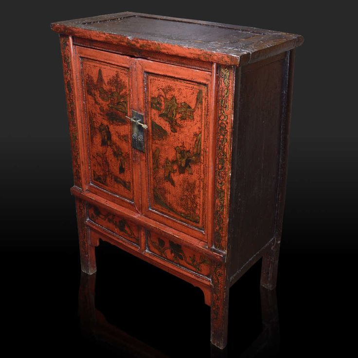 Cabinet in poplar wood red lacquered with paintings, from the Shanxi region. Period: early nineteenth century. The original ancient patina makes this piece of furniture a real collector's item and the natural lacquer emphasizes the beauty of gold paintings. Size: 84 x 40 x 110 (H) cm