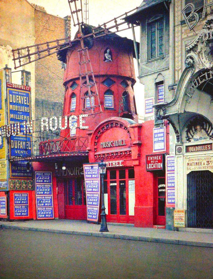 Moulin Rouge. photos vintage en couleurs de Paris, Albert Kahn