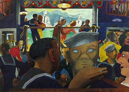 This painting by Edward Burra shows Izzy Orts, a popular bar and dance-hall once located at the docks in Boston, but now demolished. My great-grandfather John Mahoney, a vaudeville entertainer, was Master of Ceremoies at Ort's from 1942 until 1958 when he retired.