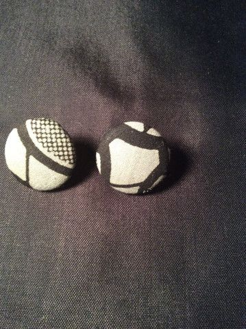 Grey and Black Abstract Button Earrings (1-1/8)