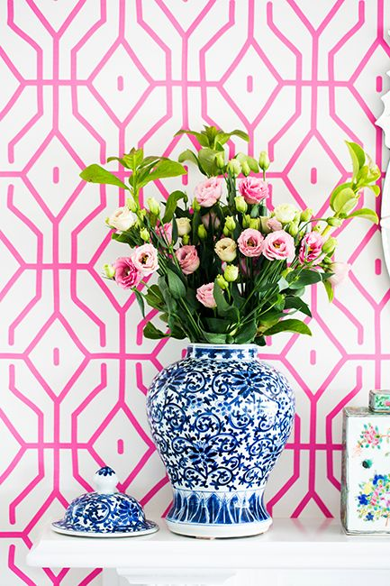 pink patterned wallpaper.