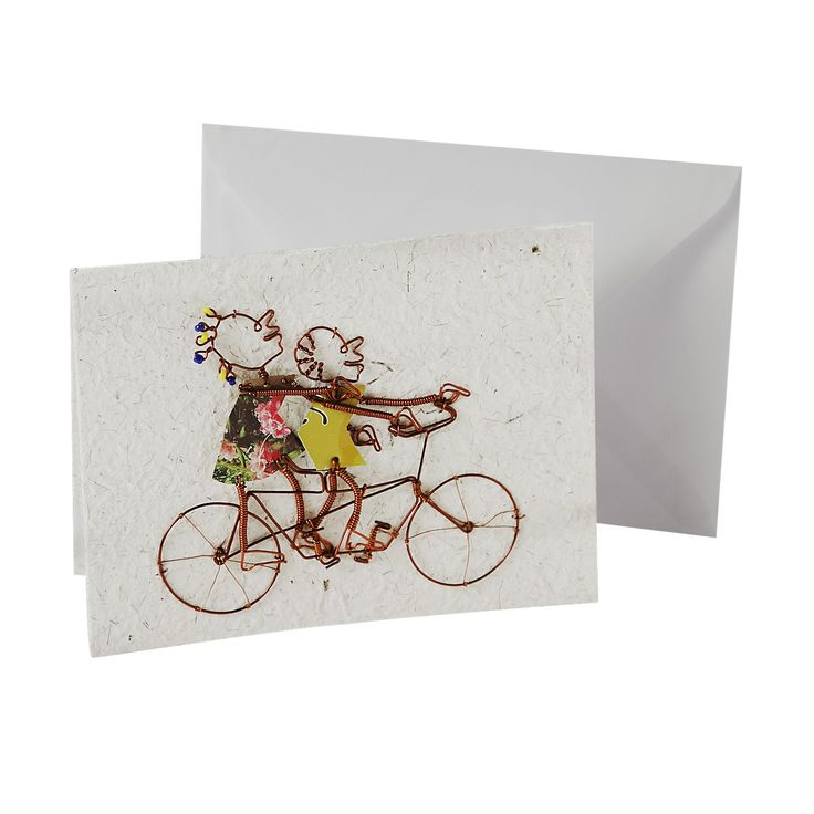 Celebrate the journey of love with a tandem bicycle card made from fun and unusual recycled materials. Artisans of KICK Trading in Kisumu, Kenya, use post-consumer, locally-sourced soda cans to make their products.