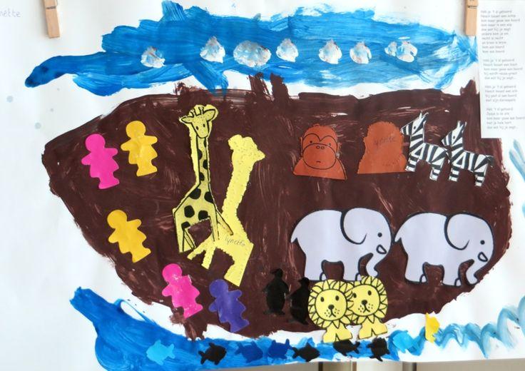 De ark van Noach, thema dierentuin, kleuteridee.nl , Noah's Ark, preschool craft.