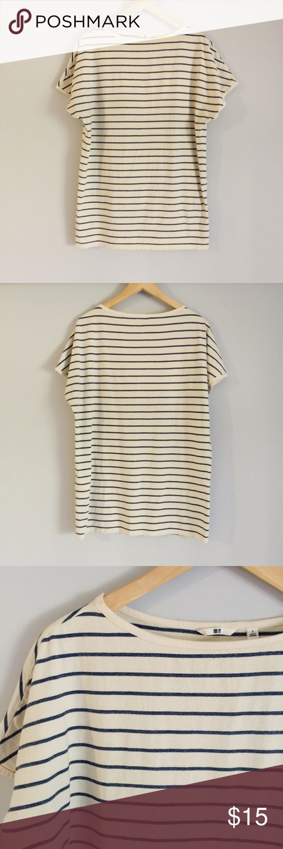 UNIQLO | Stripe Oversized T-shirt Worn less than 3 times, in great condition ✨  Make me an offer 🤗 Uniqlo Tops Tees - Short Sleeve