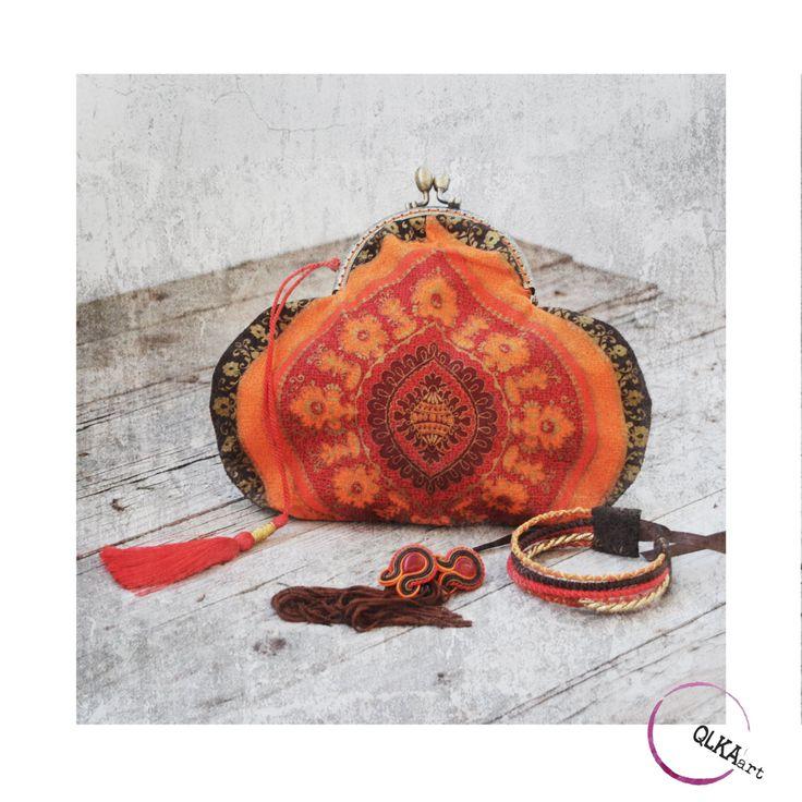 Evening purse bag, oriental bag. Bohostyle handbag, bohochic. Orange purse bag. Small bag. Oriental design. by QlkaArt on Etsy