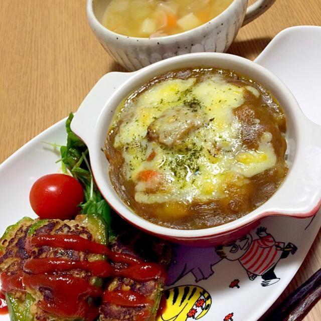 茅乃舎の野菜だしで作ったスープは、小さい娘も食べられる様に具は小さく。娘には、カレーパンマン型のハンバーグに。 カレー好きなのに、ドリアにすると一口も食べてくれなかった…(T_T) - 85件のもぐもぐ - 前日の残り物プレート✴︎カレードリア・ピーマン肉詰め・野菜たっぷりスープ by mayaco618