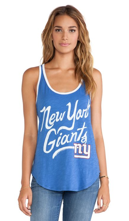 """Junk Food """"New York Giants"""" Roster Ringer Tank in Liberty"""