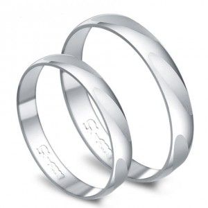 White Gold Couples comfort fit inexpensive Wedding Ring Bands for Him and Her