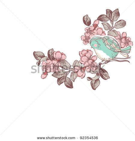 bird on a cherry blossom branch - stock vector