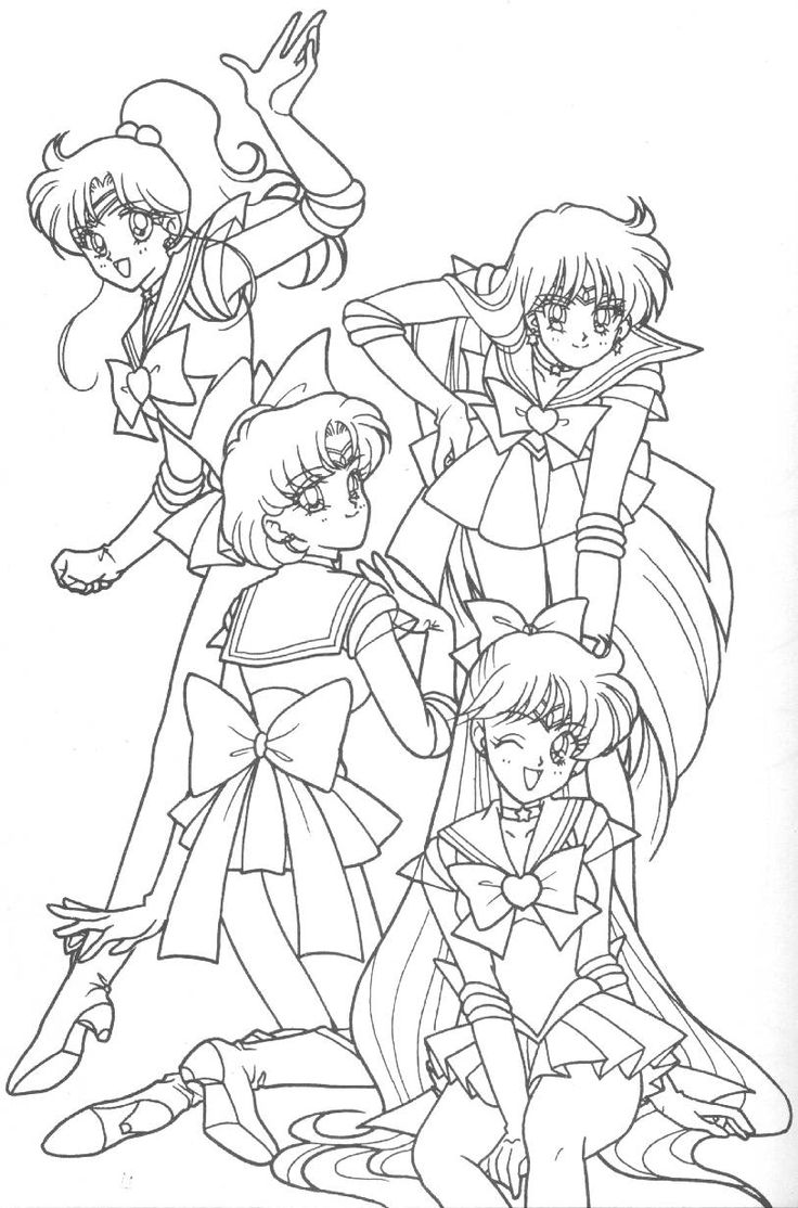Sailor jupiter sailor mercury sailor mars and sailor for Coloring pages sailor moon