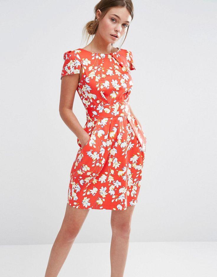 Closet Floral Print Short Sleeve Dress