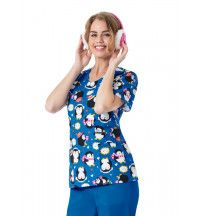 Z12202 Waddle Bunch Print Scrub Top featuring penguins