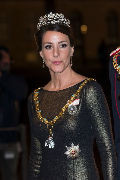 Princess Marie of Denmark arrives at the Traditional New Year's Banquet hosted by Queen Margrethe of Denmark, at, Amalienborg Palace, on January 1, 2017, in Copenhagen, Denmark.