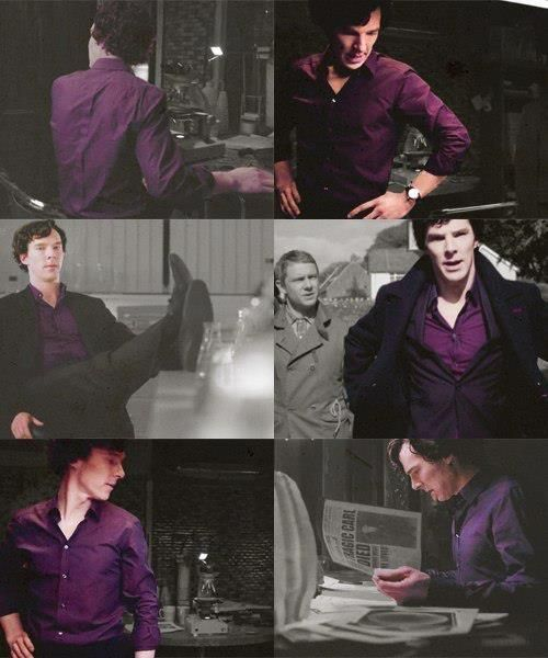 For Liz....Sherlock's purple shirt and neck porn drives me a lil' crazy, so many good looking men in purple shirts....
