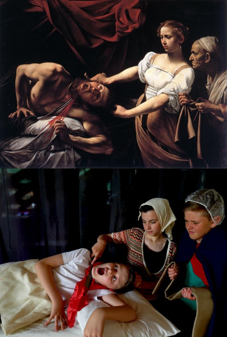Tableau Vivant: Judith Beheading Holofernes, Caravaggio Merisi (1571-1610) vanGo'd by Eagley Junior School - Joe, Aaron & Sam