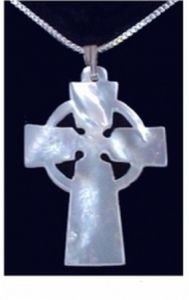 Mother of Pearl Celtic Cross.  Truly soft and gentle, it tells the old, old story.  Free Chain at a bargain Christmas price.