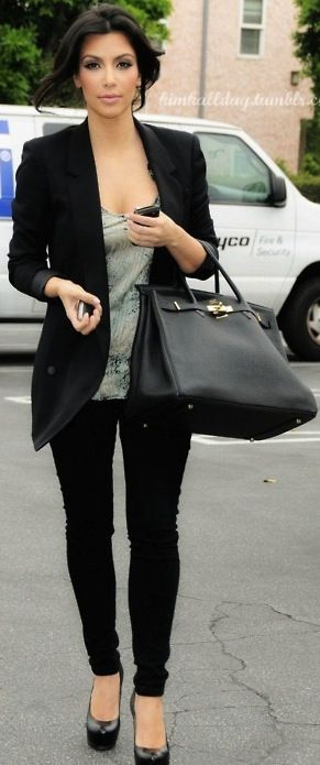 Kim Kardashian. Black skinny jeans or jeggings with a tailored long blazer. Perfect for a laid back business day at work.